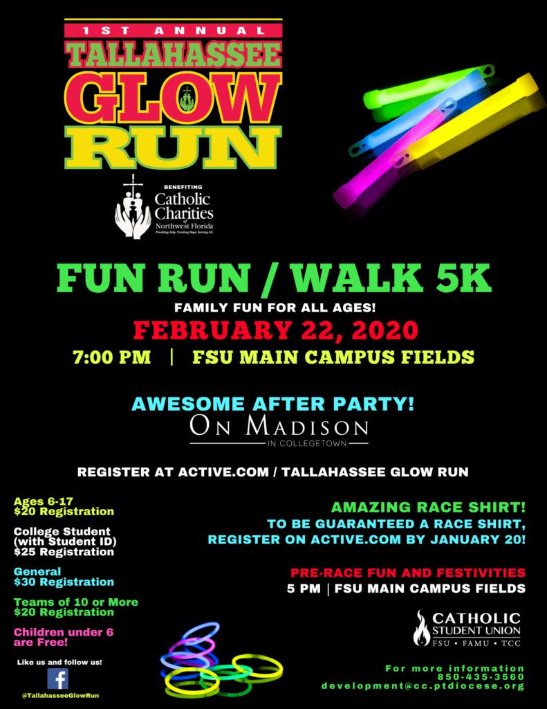 2019 Tallahassee Glow Run Flyer